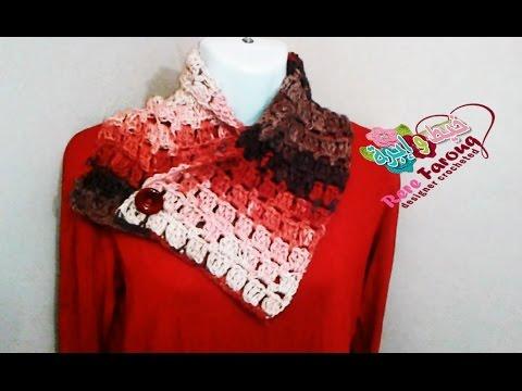 كروشيه سكارف بسيط وسريع - خيط وابره - Crochet Scarf ( Neck Warmer ) Simple And Fast