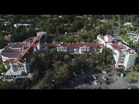 Beverly Hills Hotel aerial view 4k drone footage