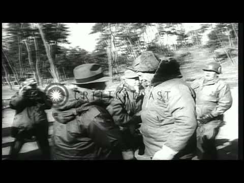 US President-elect Dwight Eisenhower inspects UN troops and speaks at a press con...HD Stock Footage