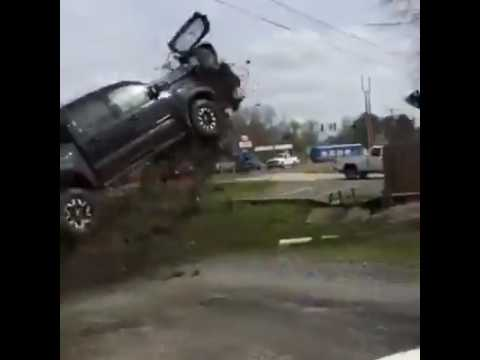 High speed chase in Louisiana ends with Toyota Tacoma flying airborne and crashing on car