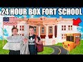 24 HOUR BOX FORT HIGH SCHOOL CHALLENGE!! 📦🚌 Robots, Cool Kids & School Roleplay