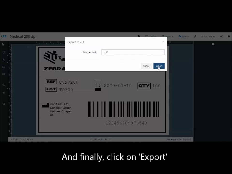 Exporting a label template to ZPL