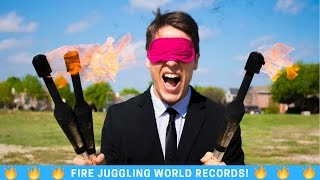 Juggling Fire BLINDFOLDED! [WORLD RECORD]