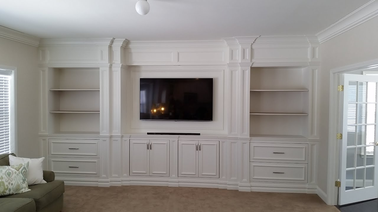 custom entertainment center built ins youtube - Built In Entertainment Center Design Ideas