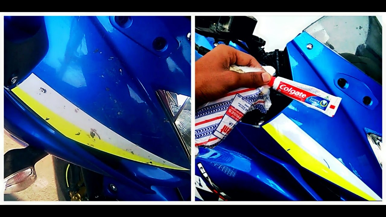 Remove bike scratches withcolgate toothpaste watch me put it to test