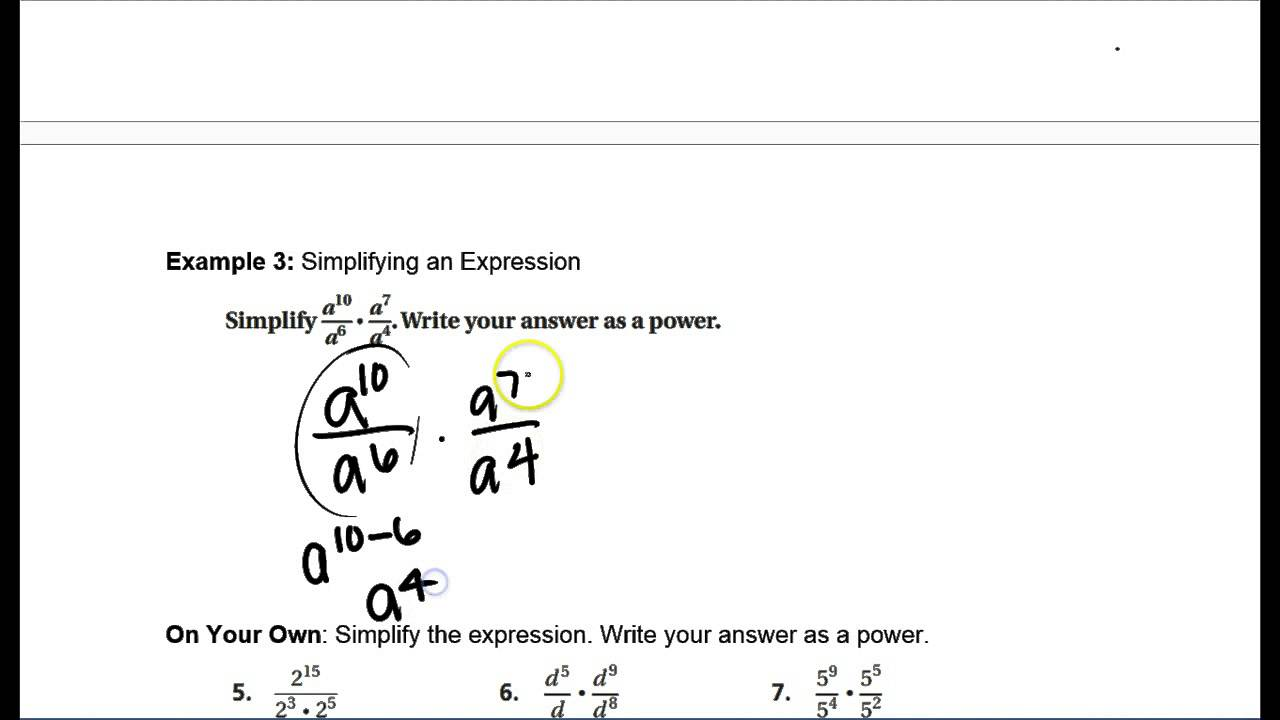 10.3 Notes - Quotient of Powers Property - YouTube