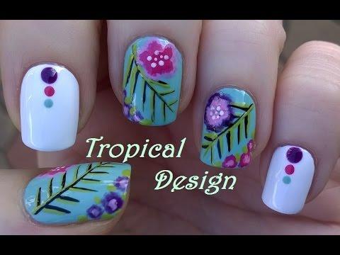 Tropical Nail Art Easy Blue White Nails Using Brushes Youtube
