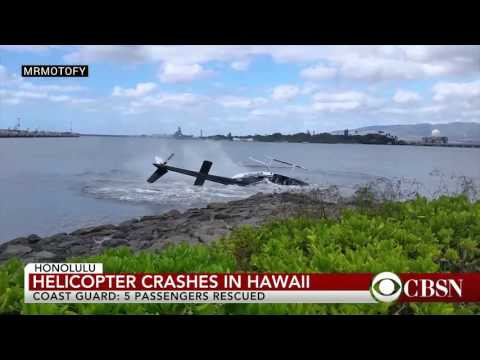 Helicopter Crash Lands In Water In Hawaii