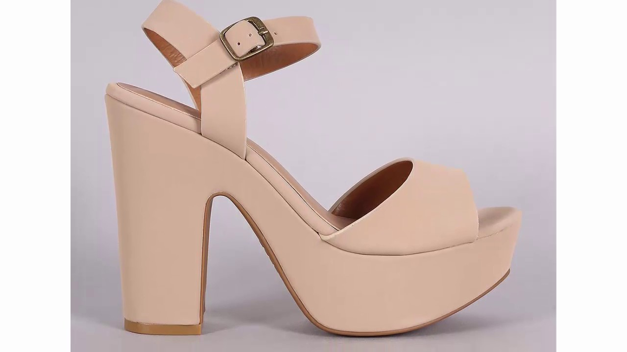 a9685c85a6a Bamboo Ankle Strap Chunky Platform Heel