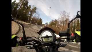 Kawasaki ER-6n 2012, practice driving during break-in - GoPro [HD]
