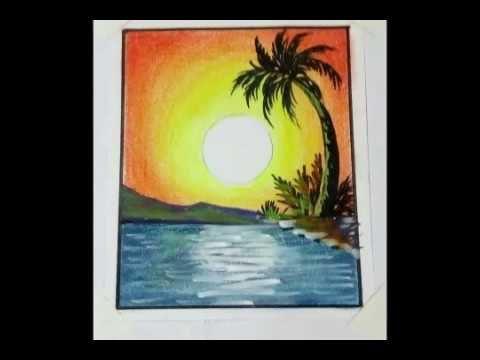 kids drawing  with soft pastels landscape painting