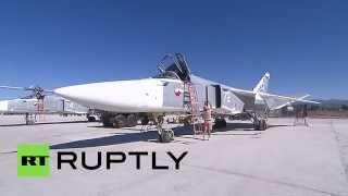 Russian Sukhoi Su-24M pre-flight check before anti-ISIS strikes
