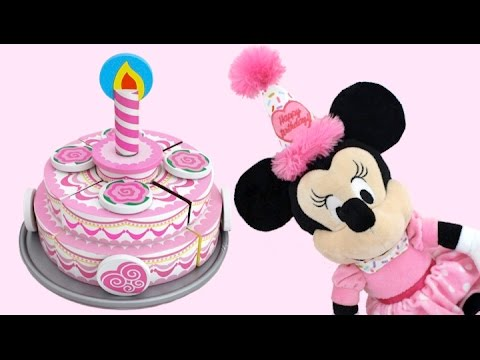Toy Velcro Cutting Birthday Cake Playset Minnie Mouse