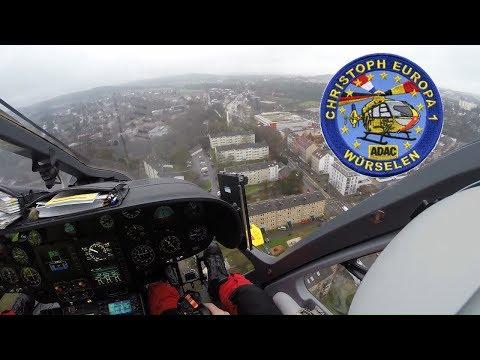 Christoph Europa 1 (Cockpit)  Einsatz Aachen Präzisionslandung