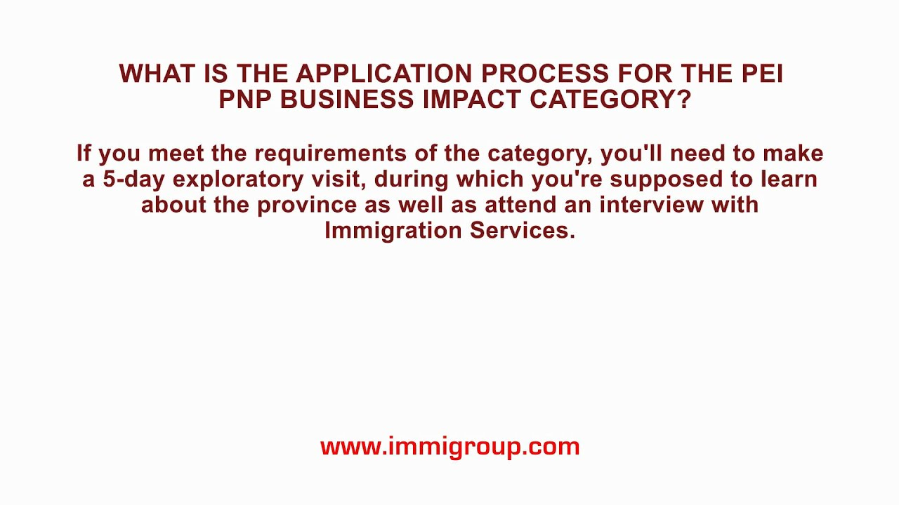 What Is The Application Process For The Pei Pnp Business Impact