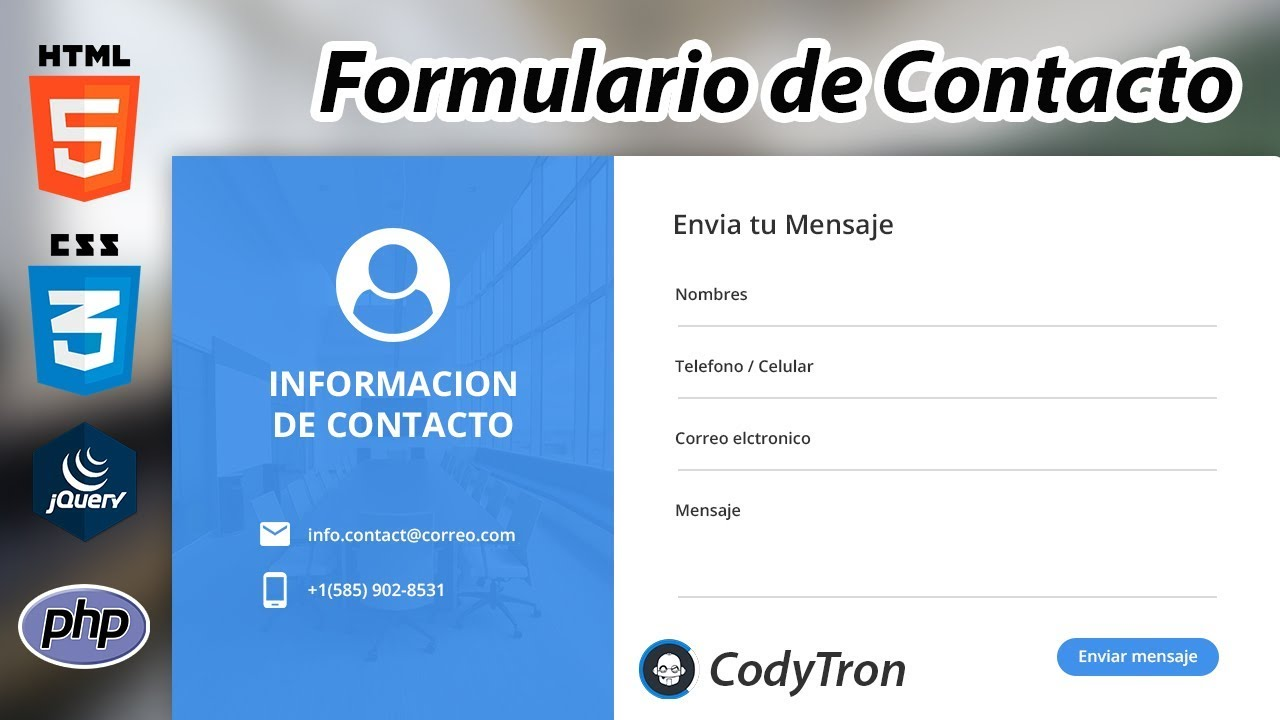 09c9ae5241 How to create a nice Contact Form with Html, Css, Js, Php or Java, For your  website