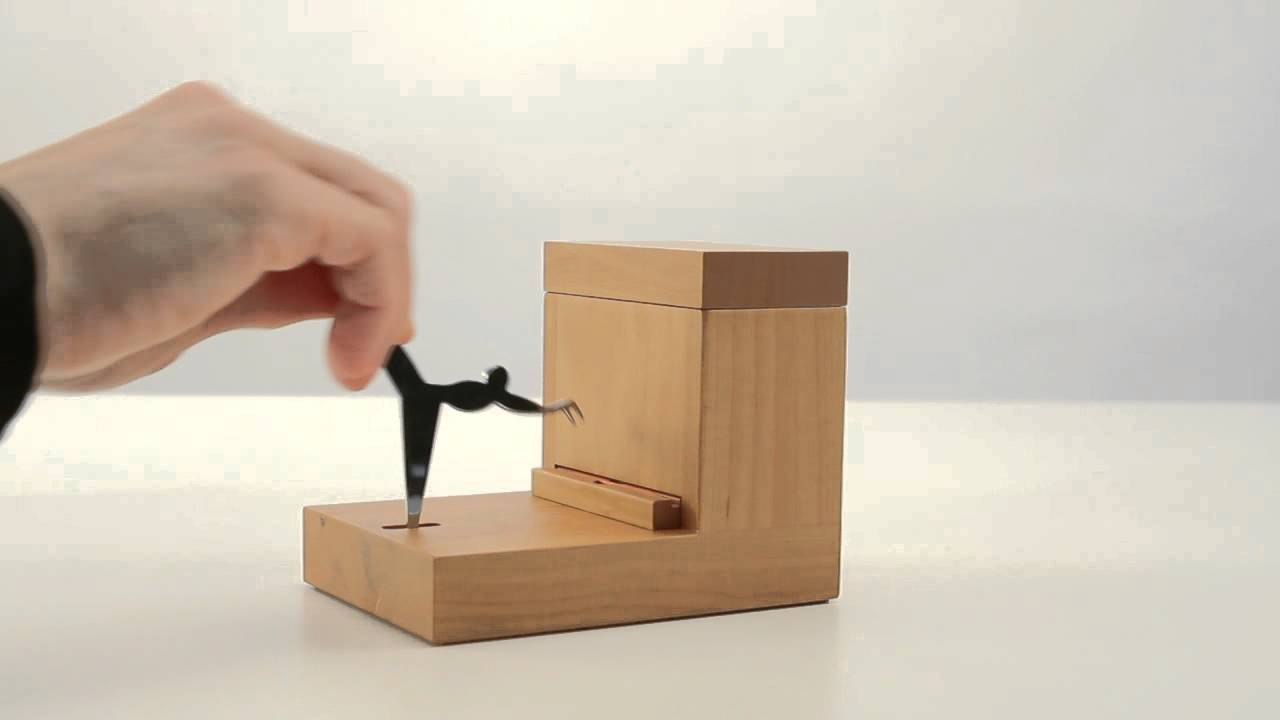 Alessi pear wood toothpick holder by andrea branzi at fitzsu youtube - Toothpick dispenser ...