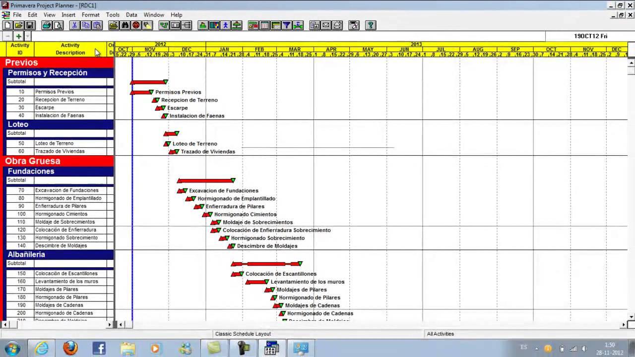 Planificacion de obra en primavera project youtube for Project planner hd