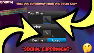 DOES EVERYONE KNOW ABOUT THE VALUE LIST?! *SOCIAL EXPERIMENT AND TRADING FLAKES* (ROBLOX ASSASSIN)