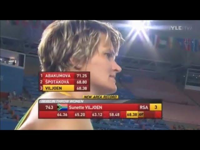 Sunette Viljoen javelin 68.38 meters.