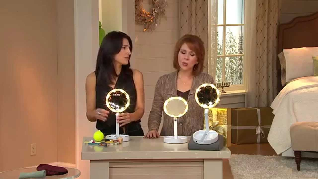 Floxite 10X1X Lighted Folding Vanity  Travel Mirror with