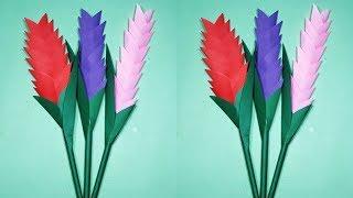 কাগজের তৈরি স্টিক ফুল    Easy Making Paper Stick Flower