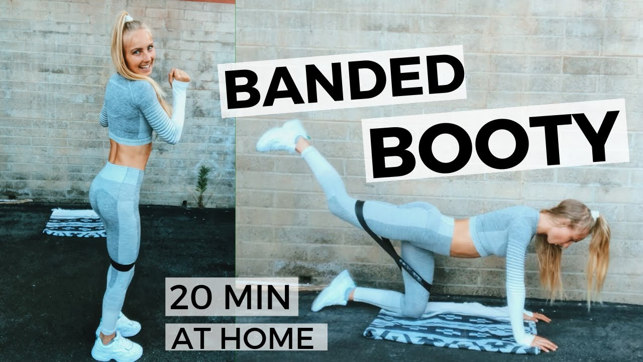 20 MIN BOOTY WORKOUT WITH BAND AT HOME -  glute exercises to grow muscles and activate your glutes
