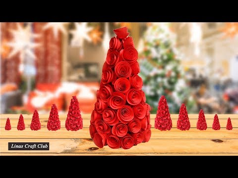 3D Paper Christmas Tree | How to Make 3D Xmas Tree DIY Tutorial by linascraftclub