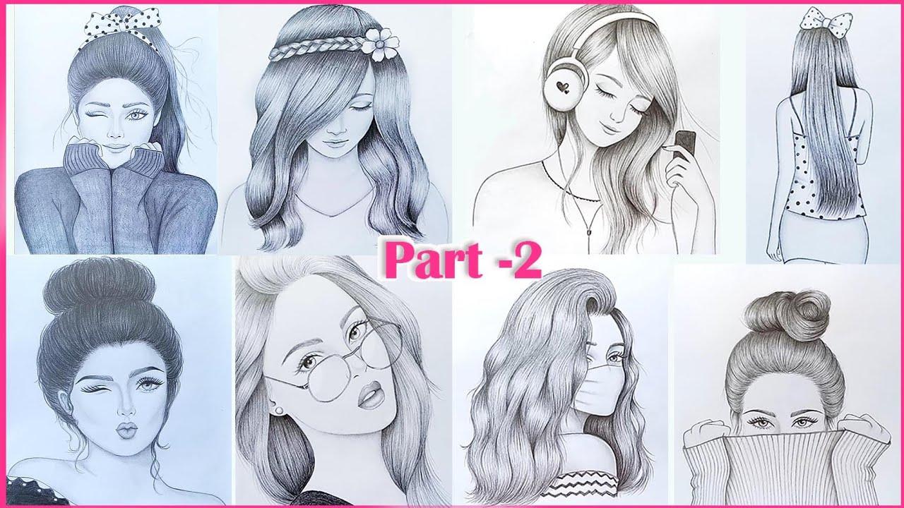 Part  20  20 easy girl drawing ideas    Pencil sketch Tutorials    Art  Videos