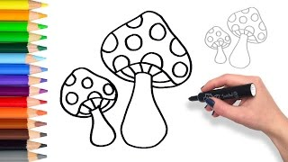 Learn How to draw Fairy Mushrooms | Teach Drawing for Kids and Toddlers Coloring Page Video