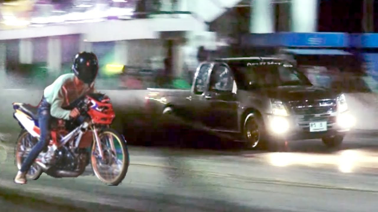Moped Vs Pickup Truck Drag Racing Isuzu Dmax Versus 2 Stroke Motorcycle Car Bike Race You