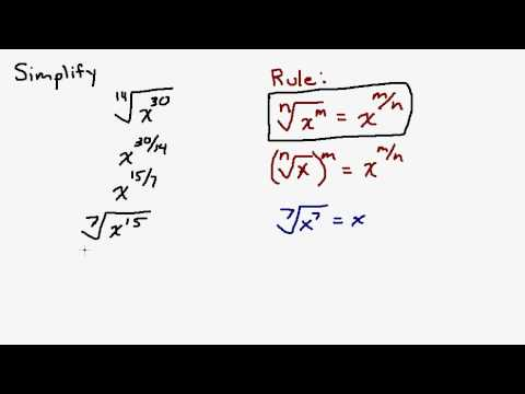 Simplify Radical Expression with Variables - Reducing Fractional Exponent