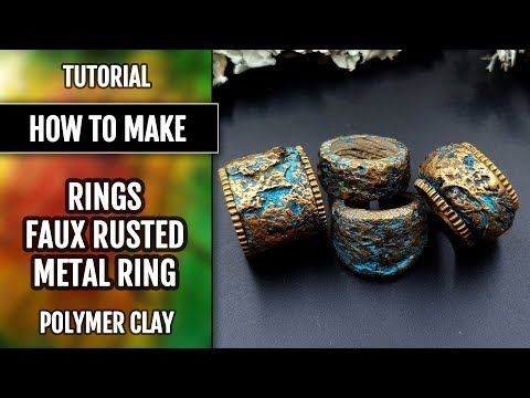 How to make Stone/Rock simple rings - Polymer clay Tutorial - Wearable Art! thumbnail