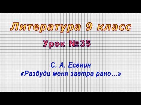 Литература 9 класс (Урок№35 - С. А. Есенин «Разбуди меня завтра рано…»)
