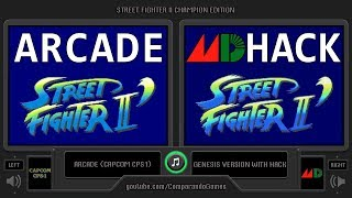 Street Fighter II CE (Arcade vs Sega Genesis with Hack) Side by Side Comparison (2 Longplay)