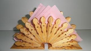 Servilletero De Pinzas De Madera Tutorial / Wooden Pegs Napkin Tutorial