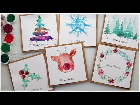 6 New Watercolor Christmas Card Ideas For Beginners Maremi S Small Art Youtube