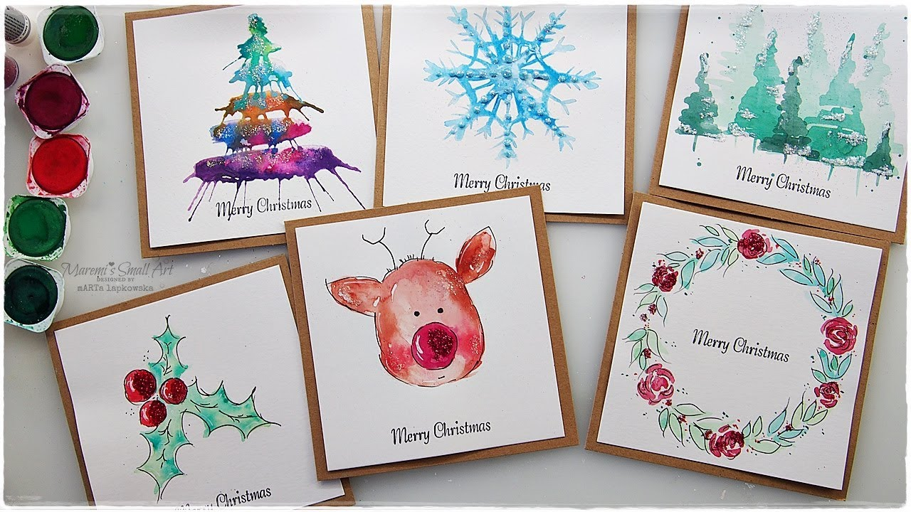 6 new watercolor christmas card ideas for beginners maremis 6 new watercolor christmas card ideas m4hsunfo