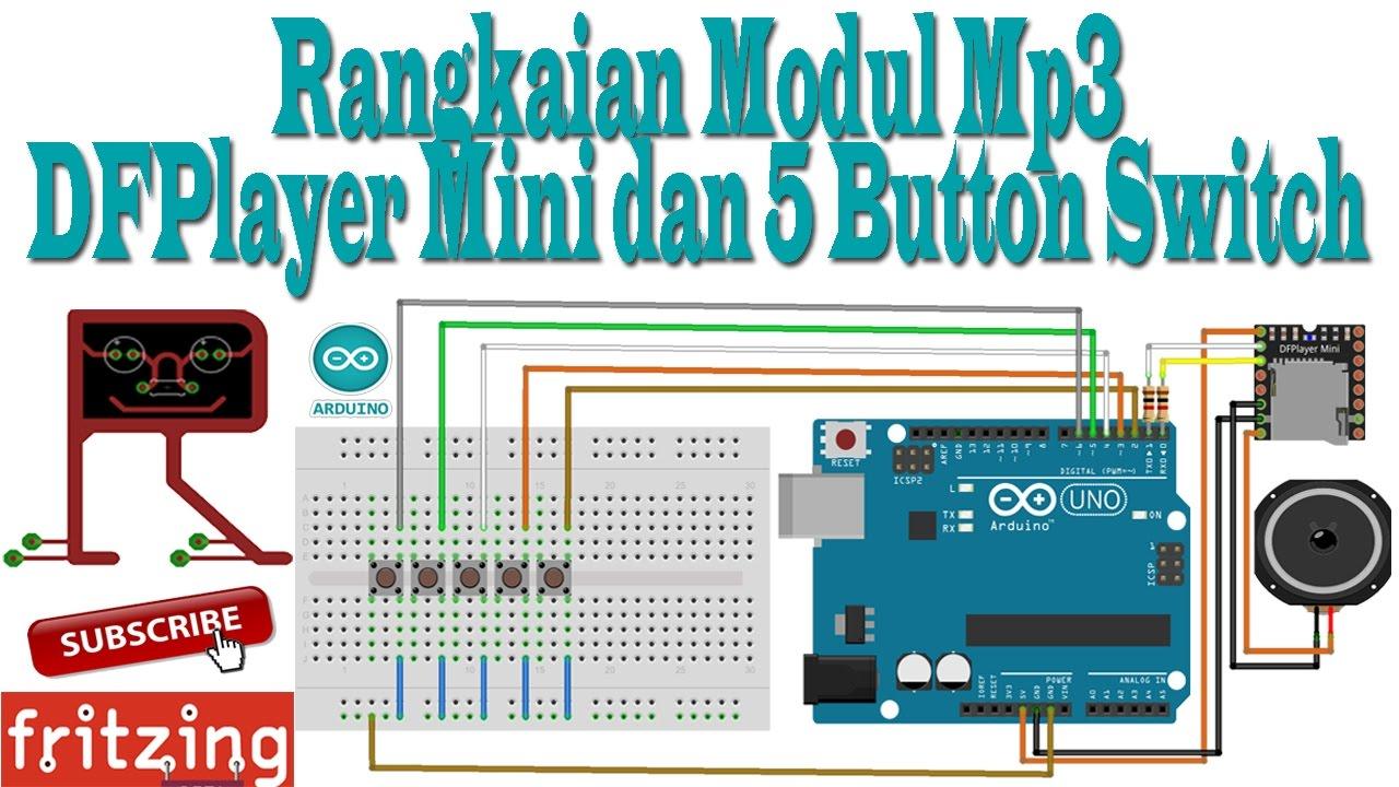 Fritzing - Rangkaian Pemograman Modul Mp3 DFPlayer Mini dan 5 Button Switch