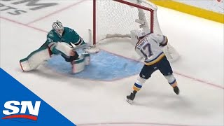 Jaden Schwartz Scores After Puck Takes A Friendly Bounce In Front Of Martin Jones