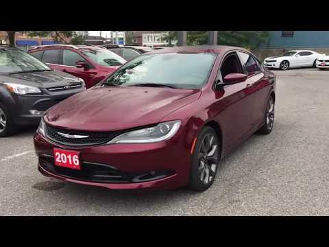 Pre Owned 2016 Chrysler 200 Sedan Heated Leather Seats Sunroof Red Oshawa ON Stock #B12558
