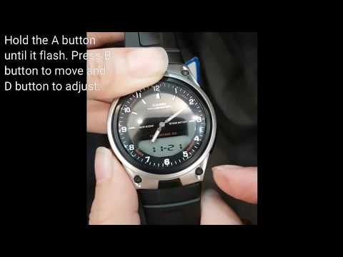 4b607492359 CASIO AW-80-1AVDF how to adjust the digital and analog time