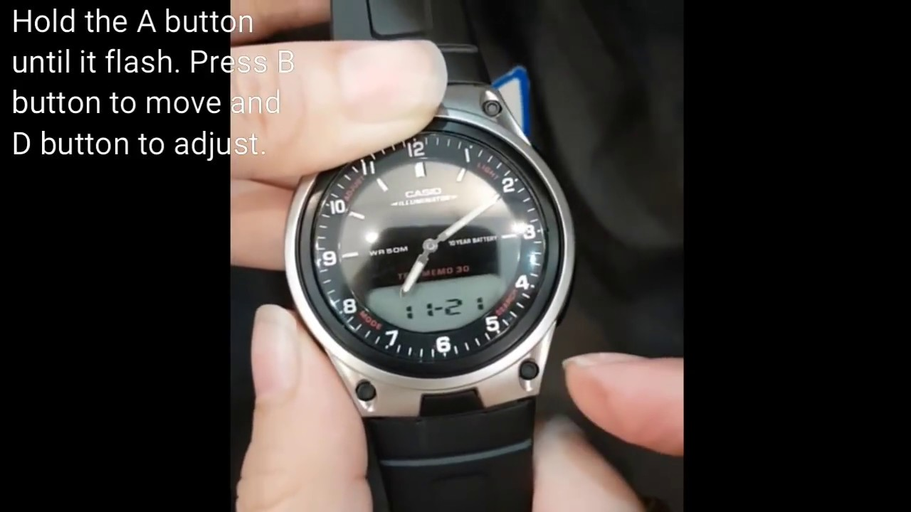 c6f9fabe850 CASIO AW-80-1AVDF how to adjust the digital and analog time - YouTube