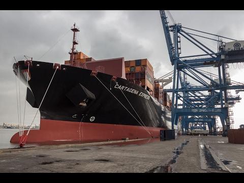 """في أول رحلة بعد تدشينها .. ميناء دمياط يستقبل السفينة الألمانية """" CARTAGENA EXPRESS """""""