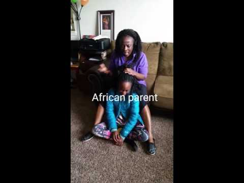 American parents vs African parent's reaction to a tender headed kid