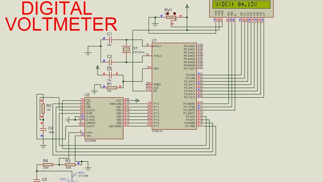 hight resolution of digital voltmeter using 8051 microcontroller avi youtube digital voltmeter using 8051 microcontroller circuit diagram
