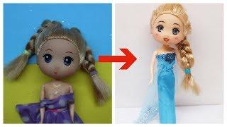 Biến Hóa Búp bê CHIBI thành ELSA - Lần đầu vẽ mặt búp bê Chibi, làm tóc, may váy Elsa
