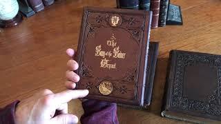 Beautiful Illustrated books 1870-80 Dragons leather bindings lot x 3 decorative