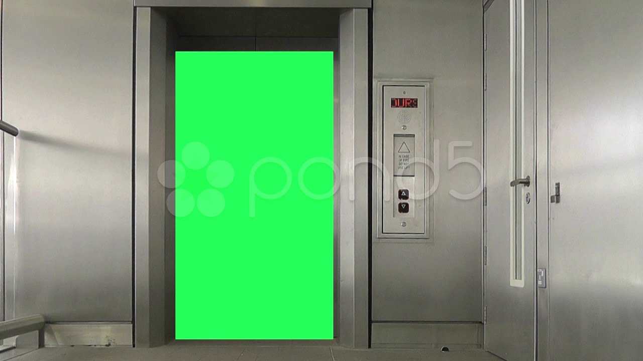 Green screen elevator doors open and close stock footage for Screen for door that opens out