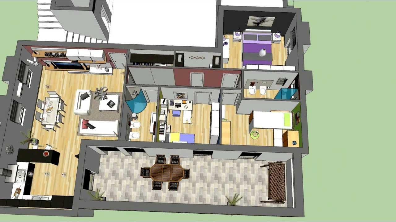 3d appartamento tipologia 110mq youtube for Progetto appartamento moderno